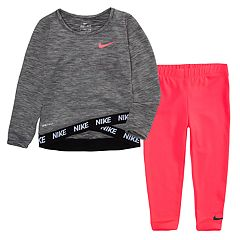 Toddler Girl Nike Dri-FIT Sports Essentials Heathered Crossover Long Sleeve Top and Leggings 2-Piece Set