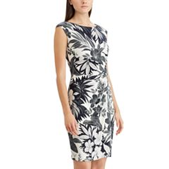 Petite Chaps Palm  Twist-Front Sheath Dress