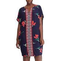 Plus Size Chaps Floral & Mosaic Print Shift Dress