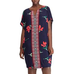Plus Size Chaps Floral & Mosaic Print Shift Dress
