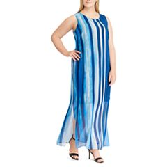Plus Size Chaps Georgette Overlay Full-Length Dress