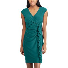 Women's Chaps Ruffled Surplice Sheath Dress