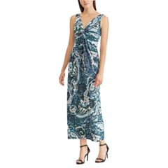 Petite Chaps Paisley Twist-Front Maxi Dress