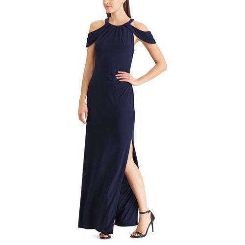 Women's Chaps Pleated Cold-Shoulder Evening Gown