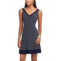 Petite Chaps Dot Fit & Flare Dress