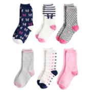 Girls 4-16 SO® 6-pack Crew Socks