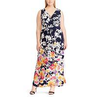 Plus Size Chaps Floral Surplice Maxi Dress