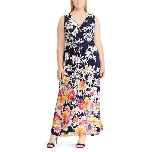 7e1d988b5f Plus Size Chaps Floral Surplice Maxi Dress