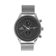Territory Men's Stainless Steel Mesh Watch - KH-TW-24562-SIL-BLK