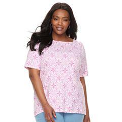 Plus Size Croft & Barrow® Print Button-Hem Squareneck Top