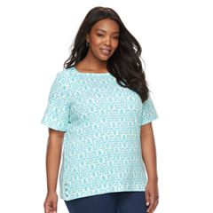 Plus Size Croft & Barrow® Print Button-Hem Squareneck Top