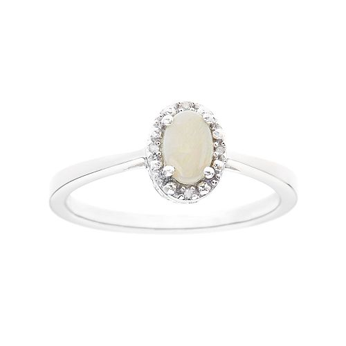 Sterling Silver Opal & Diamond Accent Oval Halo Ring