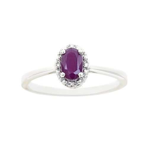 Sterling Silver Ruby & Diamond Accent Oval Halo Ring