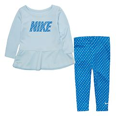Toddler Girl Nike Peplum Top & Polka-Dot Leggings Set
