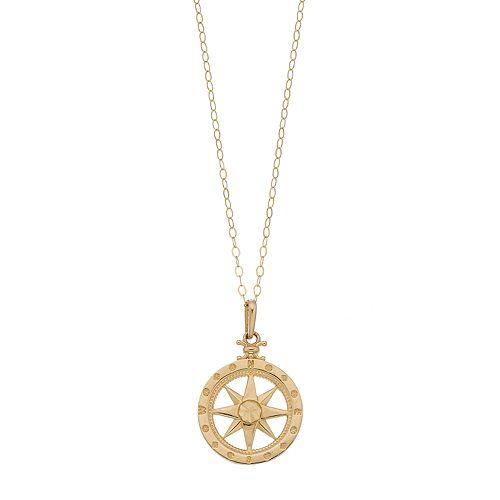 10k Gold Compass Pendant Necklace