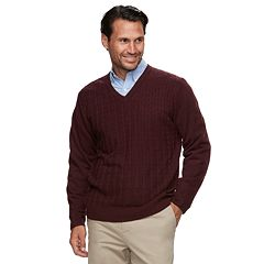 Men's Haggar Classic-Fit Fine-Gauge Cable-Knit V-Neck Sweater