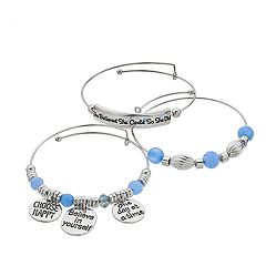 'She Believed She Could' Charm Bangle Bracelet Set