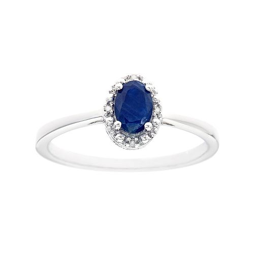 Sterling Silver Sapphire & Diamond Accent Oval Halo Ring