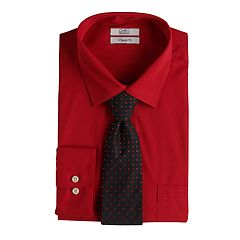 Men's Croft & Barrow® Regular-Fit Stretch-Collar Dress Shirt and Patterned Tie Boxed Set