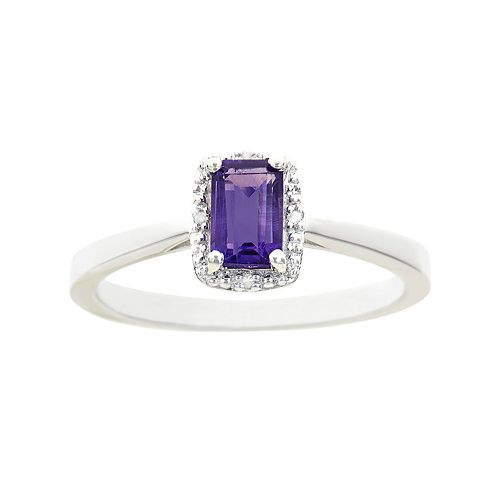 Sterling Silver Amethyst & Diamond Accent Rectangle Halo Ring