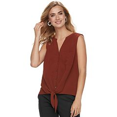 Women's Apt. 9® Mixed-Media Knot Front Tank