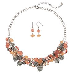 Beaded Cluster Necklace & Drop Earrings Set