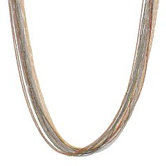 Simply Vera Vera Wang Tri-Tone Multi Strand Chain Long Necklace