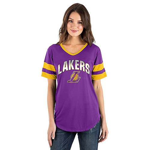 Women s Los Angeles Lakers Mesh V-Neck Tee 2164d4712