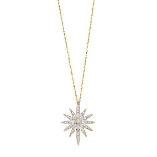 Sterling Silver Cubic Zirconia Sunburst Pendant Necklace