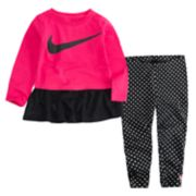 Toddler Girl Nike Ruffle Long Sleeve Tee and Polka Dot Leggings 2-Piece Set