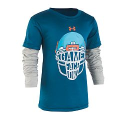 Toddler Boy Under Armour 'Game Face On' Football Mock-Layered Graphic Tee