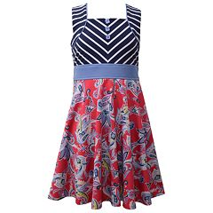 Girls 7-16 Bonnie Jean Mitered Stripe & Print Scuba Dress