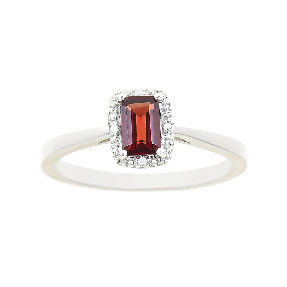 Sterling Silver Garnet & Diamond Accent Rectangle Halo Ring