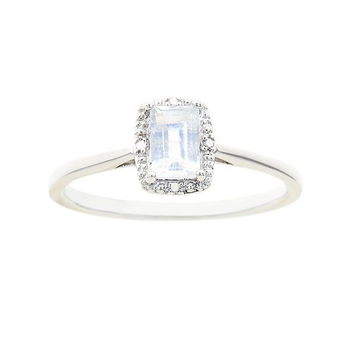 Sterling Silver Moonstone & Diamond Accent Rectangle Halo Ring