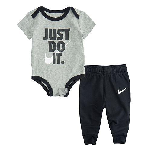 "Baby Boy Nike ""Just Do It."" Bodysuit & Jogger Pants Set"