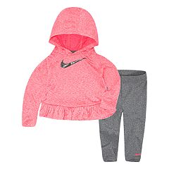 Toddler Girl Nike Dri-FIT Heathered Ruffle Hoodie and Leggings 2-Piece Set
