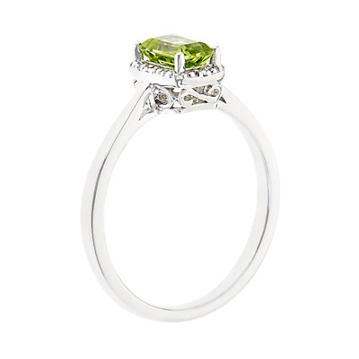 Sterling Silver Peridot & Diamond Accent Rectangle Halo Ring