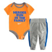 "Baby Boy Nike ""Heroes Run In The Family"" Bodysuit & Pants Set"