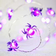 Manor Lane 10-ft. Purple Spider Halloween String Lights