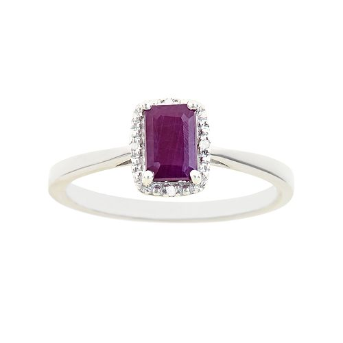 Sterling Silver Ruby & Diamond Accent Rectangle Halo Ring