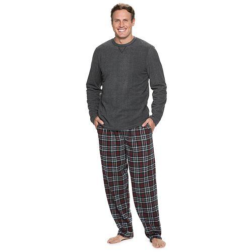 Big & Tall Chaps Fleece Tee & Plaid Flannel Lounge Pants Set