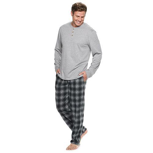 Big Amp Tall Chaps Henley Amp Plaid Fleece Lounge Pants Set