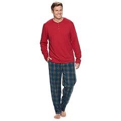 Big & Tall Chaps Henley & Plaid Fleece Lounge Pants Set