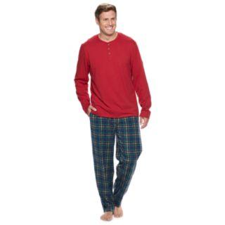 Big & Tall Chaps Henley & Plaid Fleece Lounge Pants Set