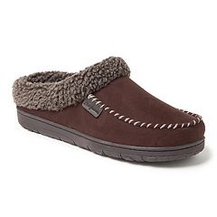 Men's Dearfoams Microsuede Whipstitch Trim Clog Slippers
