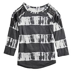 Girls 7-16 & Plus Size Mudd® Crochet Trim Cold Shoulder Tee