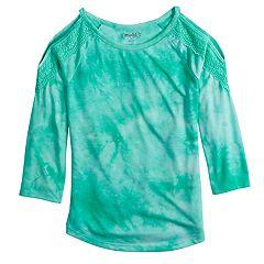 Girls 7-16 & Plus Size Mudd® Crochet Trim Cold Shoulder Tee