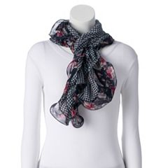 Women's Chaps Ruffled Floral & Houndstooth Reversible Scarf