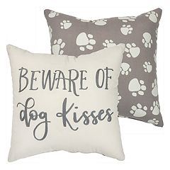 ''Beware of Dog Kisses'' Throw Pillow
