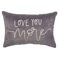 ''Love You More'' Velvet Oblong Throw Pillow